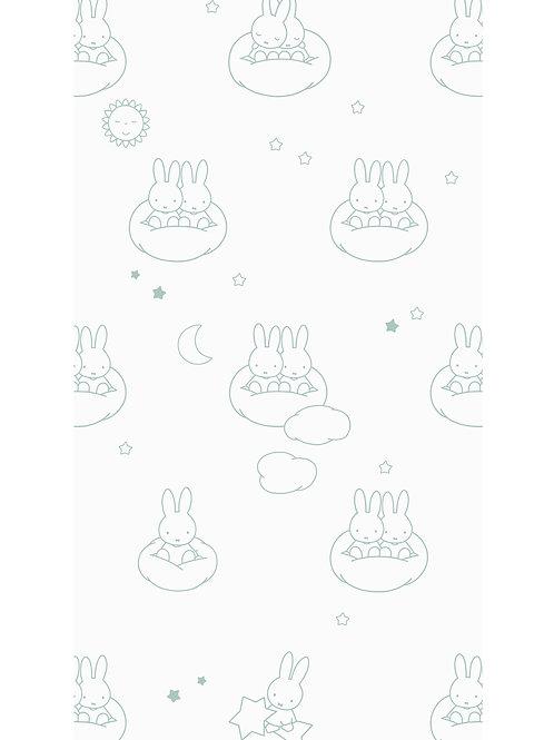 Nijntje behang met wolken - GROEN - WP-519