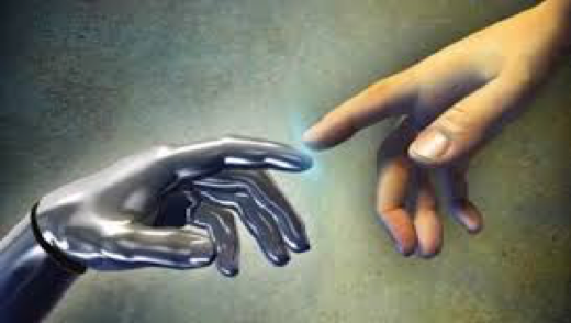 la main de dieux de la chapelle sixteen avec celle d'un robot