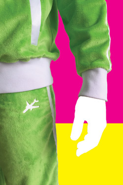 Close-up of pants logo