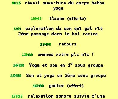 !!!!!!!!!!!!!!!!!!yoga et son : le Programme!!!!!!!!!!!!!!!!!!