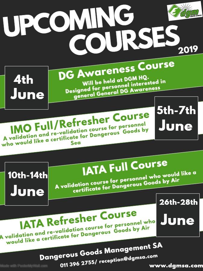 IATA Training Course/ Dangerous Goods Management/ Kempton Park