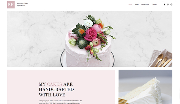 Events website templates – Wedding Cakes