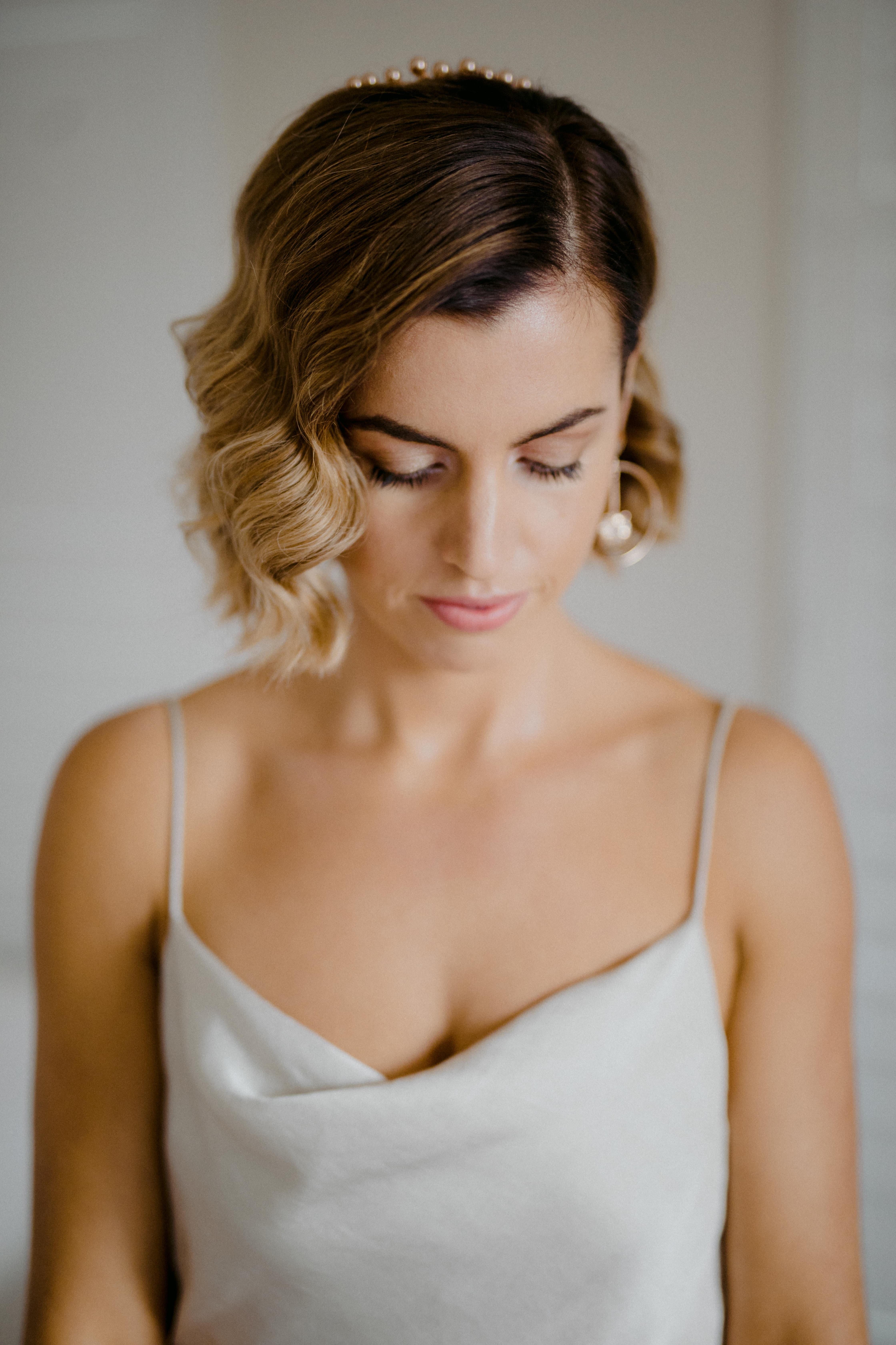close up of natural bridal makeup