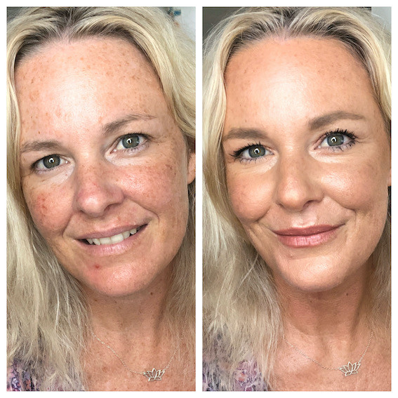 before and after golden glowing makeup for mature skin