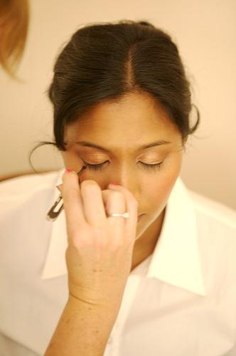 close up makeup of bride