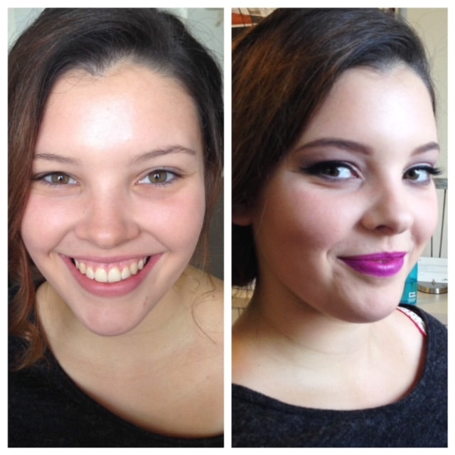 before and after formal makeup