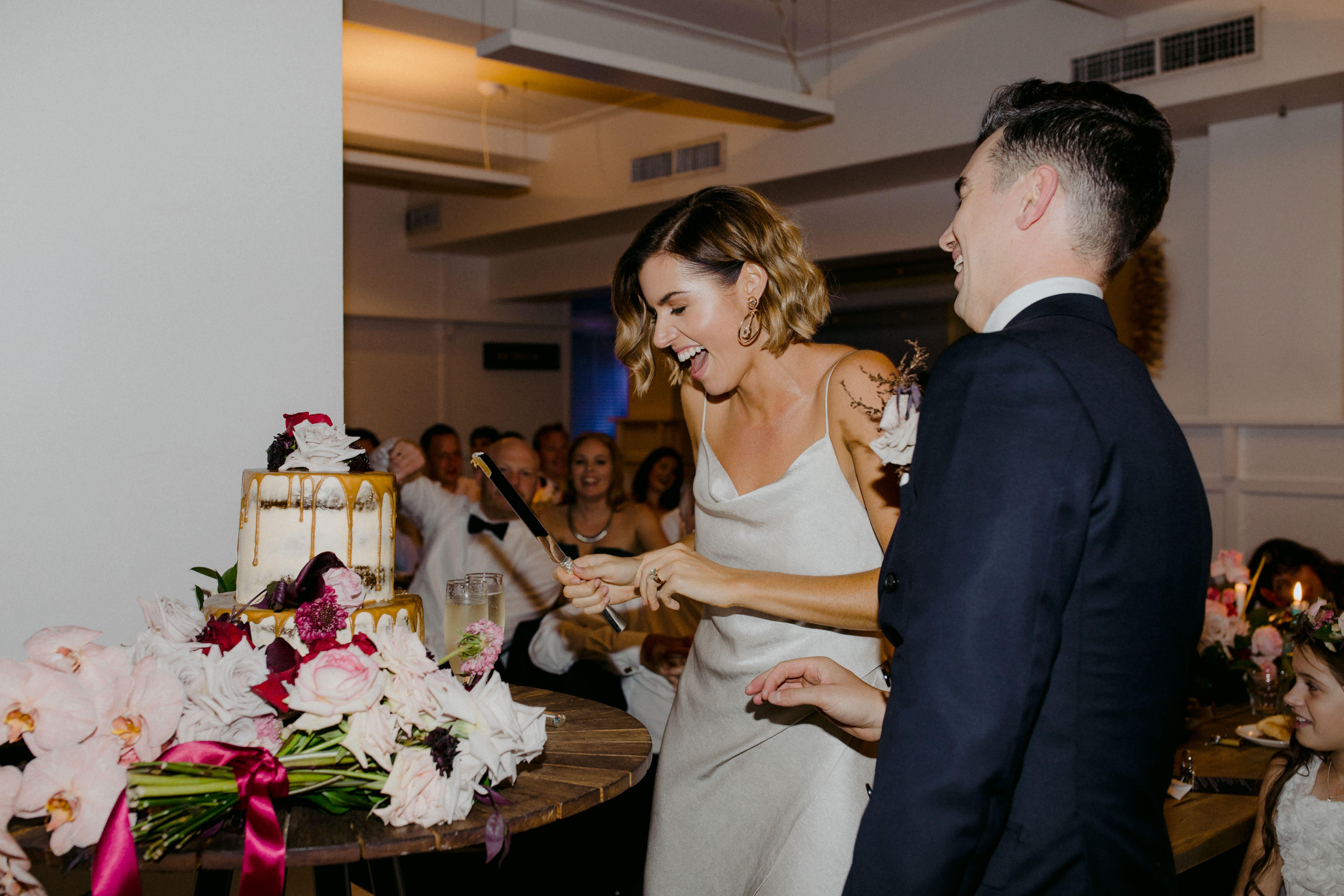 happy bride and groom makeup