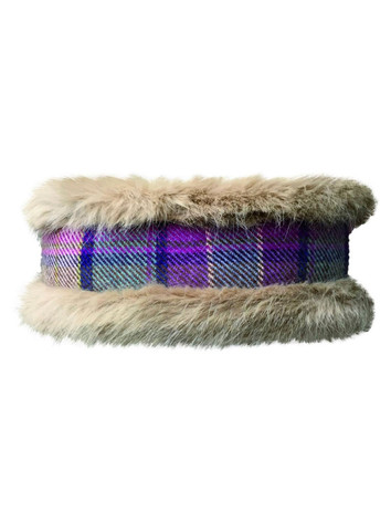 Faux Fur Headband - Purple Tweed