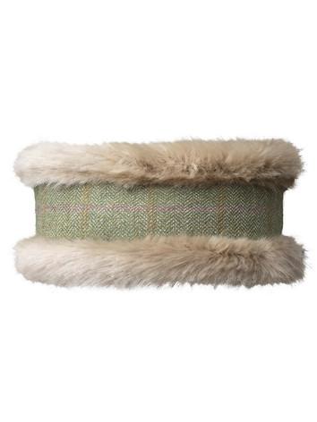 Faux Fur Headband - Green Tweed