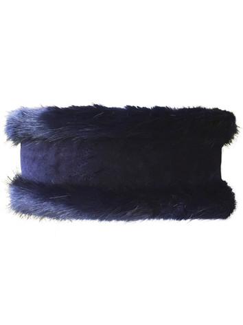 Faux Fur Headband - Navy