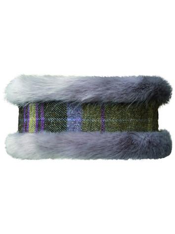 Faux Fur Headband - Grey/Green