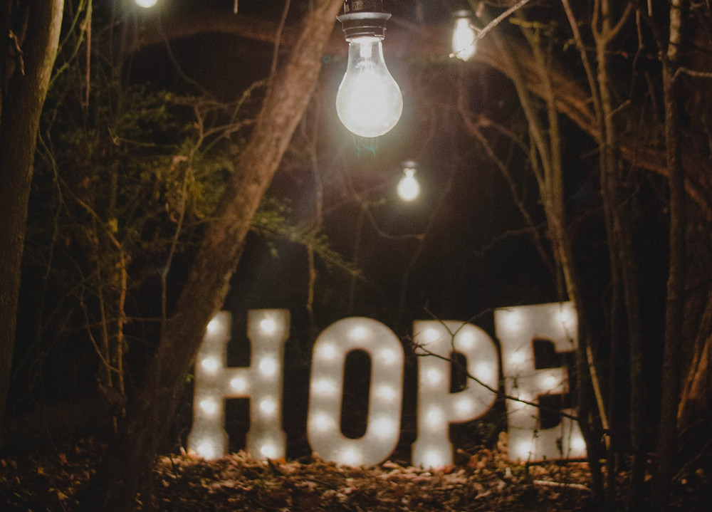 Large lit up letter signs spell the word hope in a clearing in a forest with a string of light bulbs lighting the path around it.  Photo by Ron Smith on Unsplash