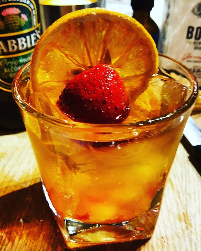 Old fashioned_Tincup Bourbon. Bitters. Muddled raspberry. Muddled orange. Sugar cube