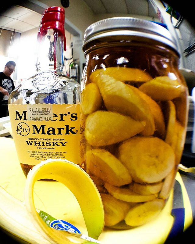 Banana infused Maker's Mark Bourbon #lexingtonnc #lexington #nc #smalltown #shoto #purveyorsofvice #