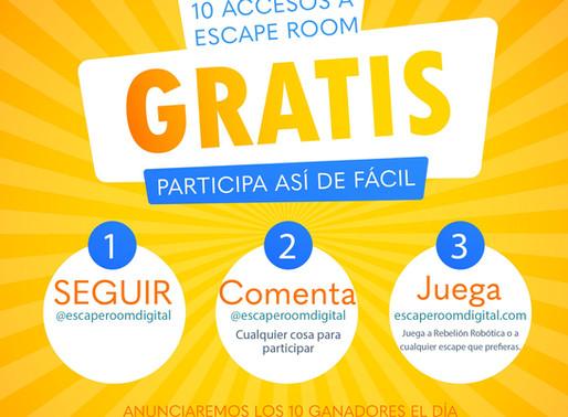 SORTEO DE 10 ESCAPE ROOMS GRATUITOS