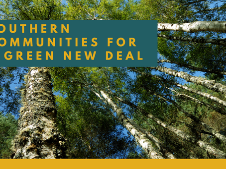 RELEASE: SOUTHERN COMMUNITIES FOR A GREEN NEW DEAL