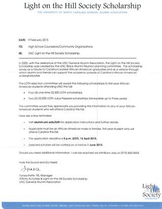 UNC Light on the Hill Society Scholarship