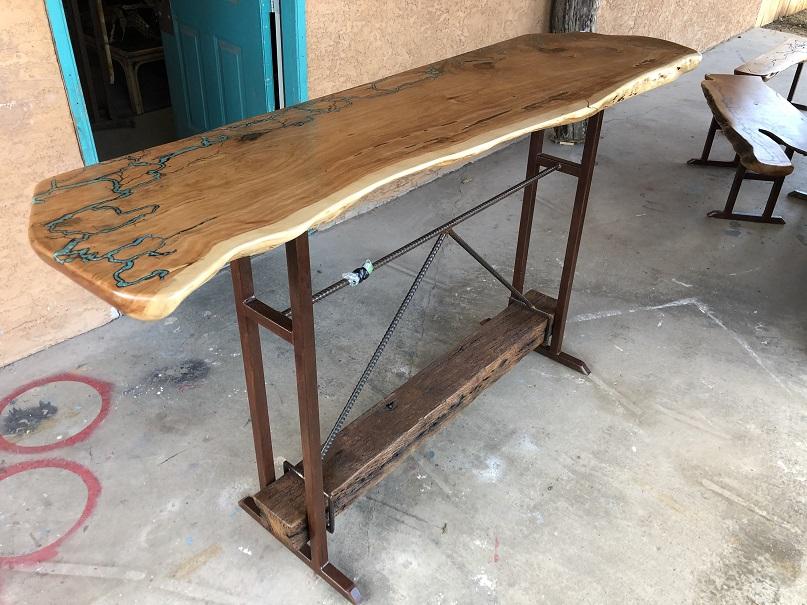 Juniper Bar Table w VA Beam Foot Rest an