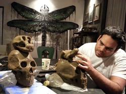 preparando las esculturas