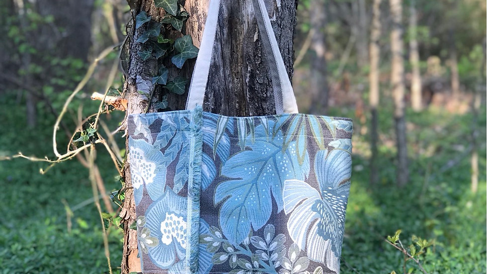Tropical leather bottom tote
