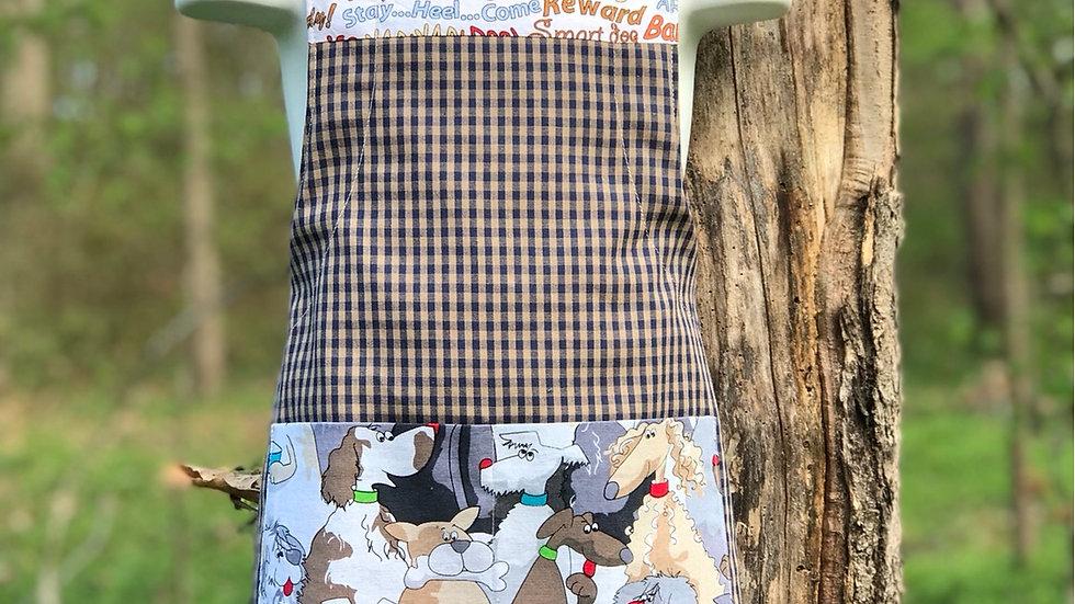 Blue & Tan Checkered Dog large kids apron
