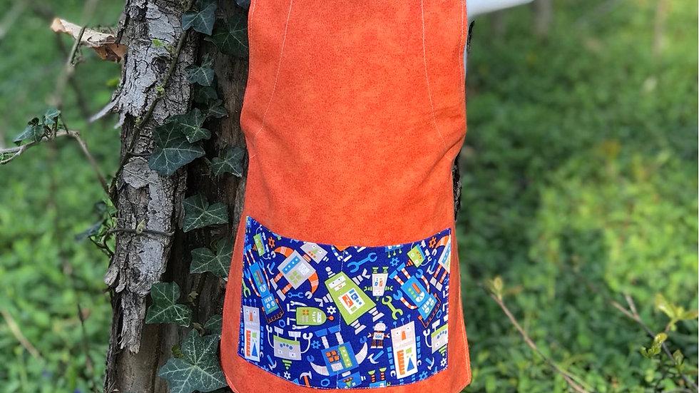 Orange Robots small kids apron