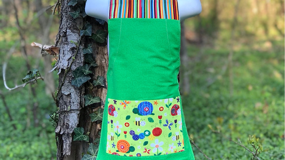Green Happy Bugs small kids apron