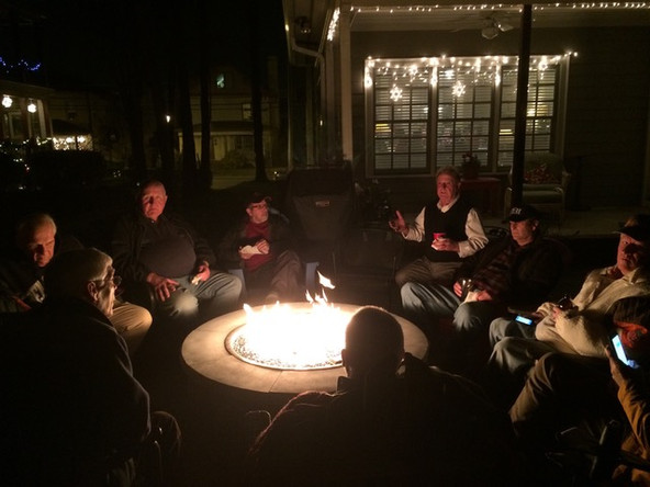 Fun times around the firepit at the Whites' home