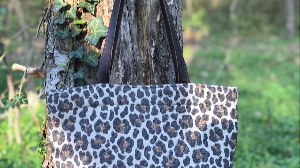 Leopard and Stripe leather bottom tote