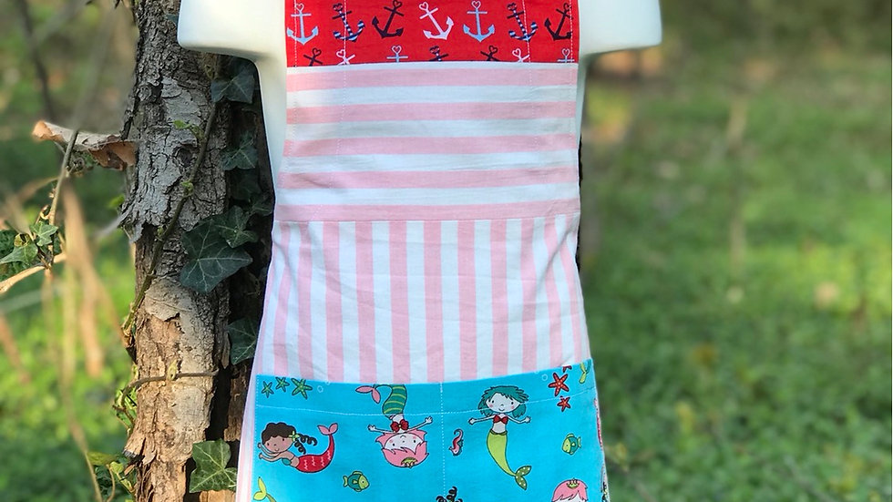 Pink Stripe Mermaid large kids apron