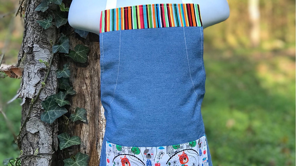 Denim and Dogs on bicycle small kids apron