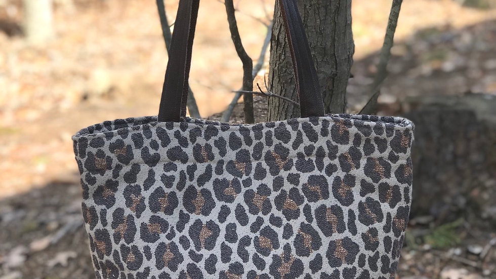 Leopard Leather Bottomed Tote