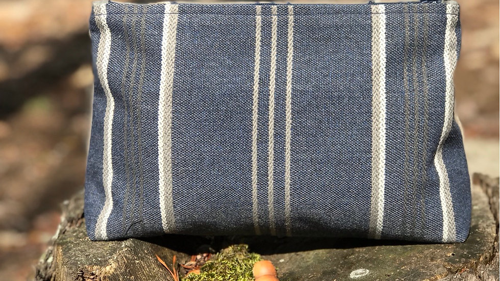 Blue & Tan Zippered Pouch