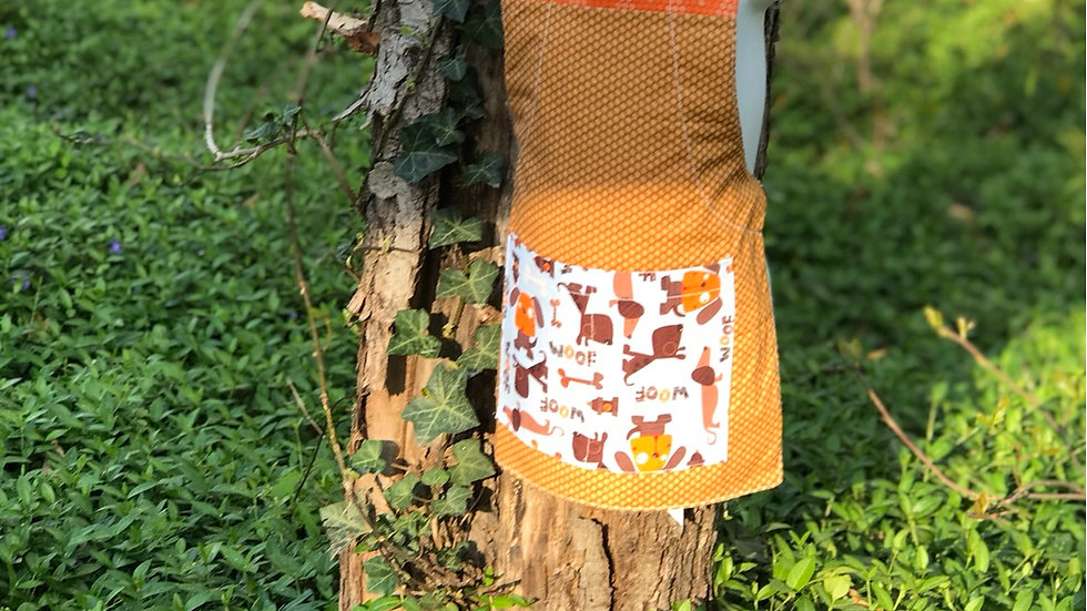 Tan and Orange Dogs small kids apron