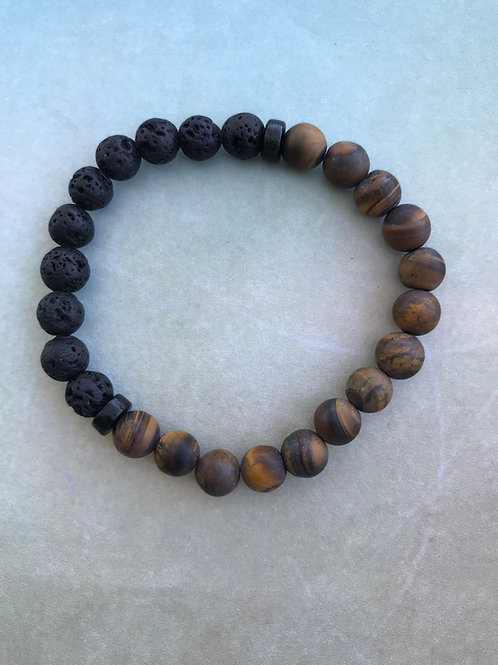 Mens Tiger Eye with Lava