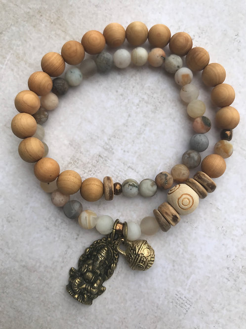 Ganesh Bamboo Agate Double Wrap