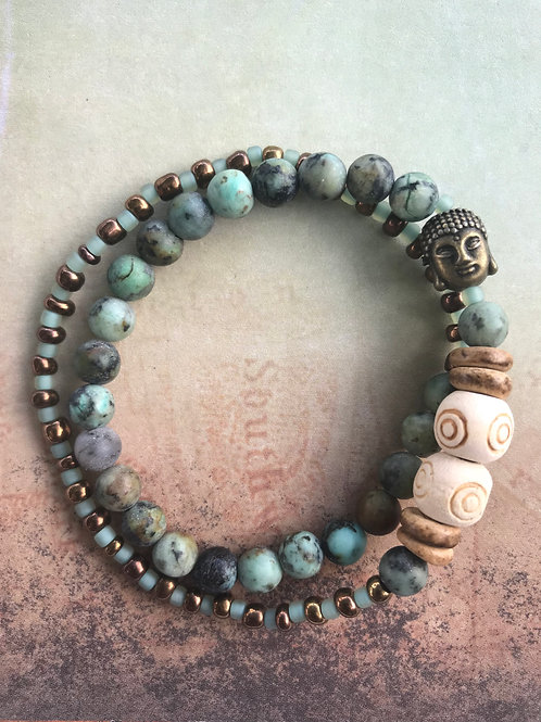 African Turquoise Double Wrap