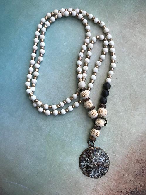 White Turquoise Sand Dollar Necklace