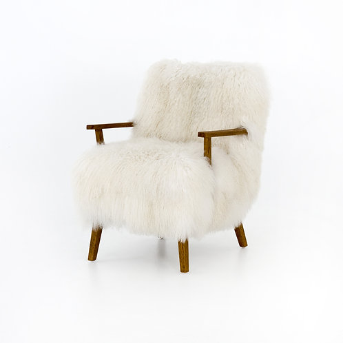 Mongolia Cream Fur Armchair