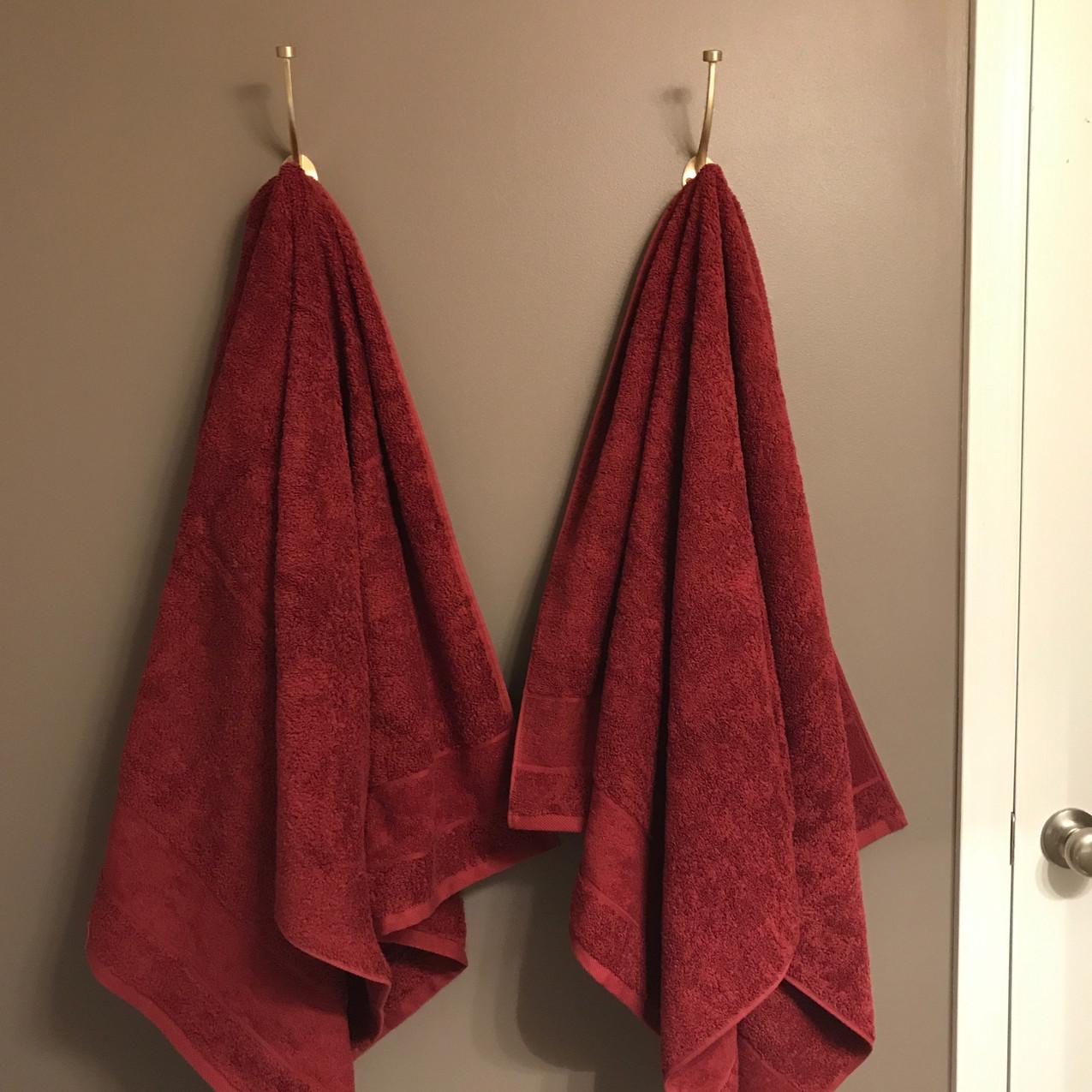 Towels on Brass Hooks