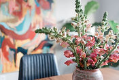 Fresh Flowers on Dining Table