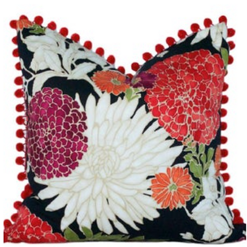 Asian Floral Pillow Cover