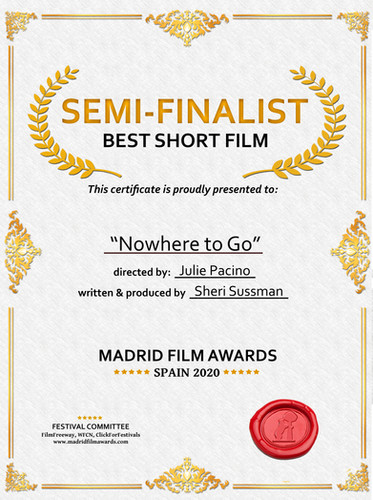 Nowhere tSemi-Finalist Digital Certificateo Go, Semi-Finalist Short Film