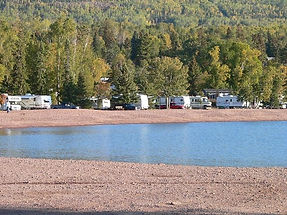 RV campsites on the harbor of Grand Marais, MN