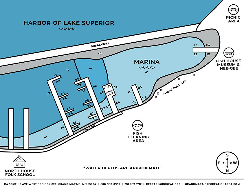 Grand Marais municipal marina map depicting docks layout