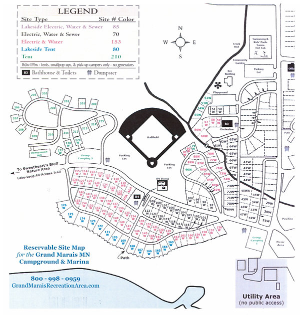Grand Marais campground map of reservable sites depicting old numbers