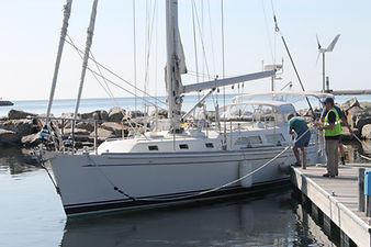 Lake Superior cruising boat at the docks of the Grand Marais marina