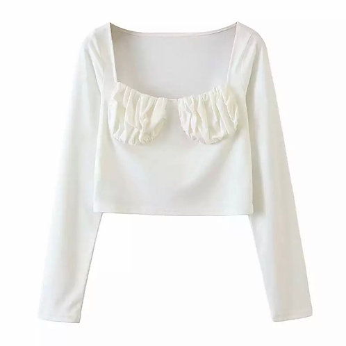 KENDALL RUCHED WHITE TOP