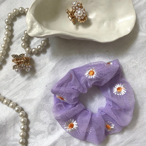 SCRUNCHIE Purple Daisy