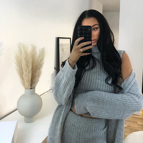 GREY 3-PIECE KNITTED SET